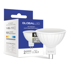 LED лампа GLOBAL MR16 5W мягкий свет 220V GU5.3 (1-GBL-113)