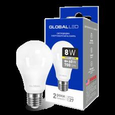 LED лампа GLOBAL A60 8W мягкий свет 220V E27 AL (1-GBL-161)