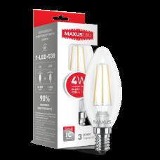 LED лампа MAXUS (филамент) C37 4W яркий свет E14 (1-LED-538)