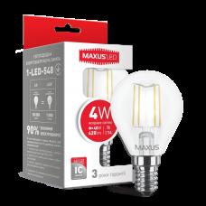 LED лампа MAXUS (филамент) G45 4W яргкий свет E14 (1-LED-548)