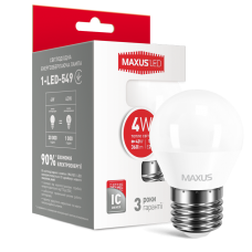 LED лампа MAXUS G45 F 4W мягкий свет 220V E27 (1-LED-549)