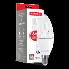 LED лампа C37 6W мягкий свет 220V E14  (1-LED-531)