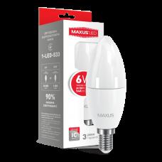 LED лампа C37 6W мягкий свет 220V E14  (1-LED-533)