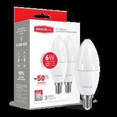 Набор LED ламп MAXUS C37 6W мягкий свет 220V E14 (по 2 шт.) (2-LED-533)