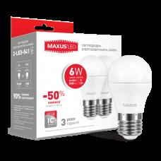 Набор LED ламп MAXUS G45 6W мягкий свет 220V E27 (по 2 шт.) (2-LED-541)